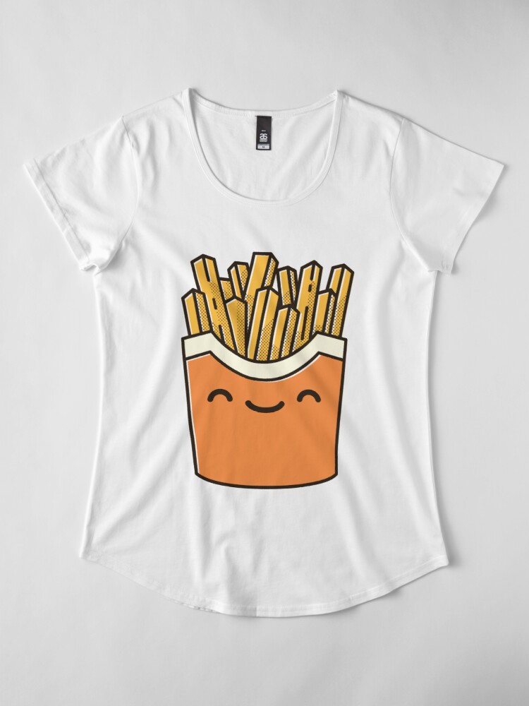 Alternate view of Smiley French Fries Premium Scoop T-Shirt