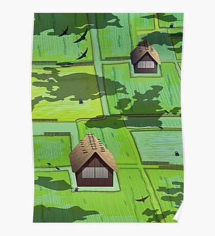 Rice paddy field Poster