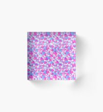 Pink And Blue Leaves Acrylic Block