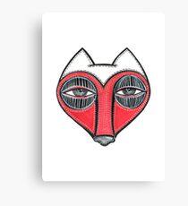 fox face heart Canvas Print