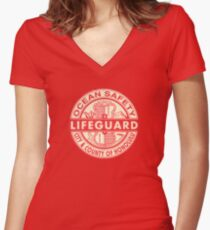 Hawaii Lifeguard Logo Women's Fitted V-Neck T-Shirt