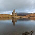 Ardvreck Castle reflecting in Loch Assynt by Maria Gaellman