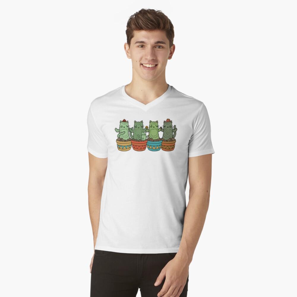 Catcus Garden (fila única) Camiseta de cuello en V
