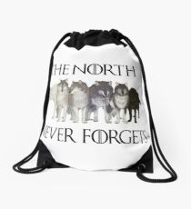 THE NORTH NEVER FORGETS Drawstring Bag