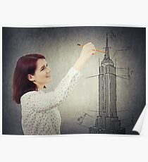 woman architect sketching Poster
