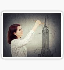 woman architect sketching Sticker
