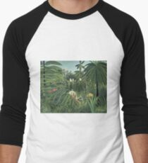 Henri Rousseau - Jaguar Attacking A Horse Men's Baseball ¾ T-Shirt