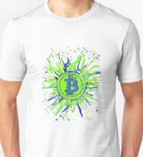 'Bitcoin Explosion' in Green. Unisex T-Shirt