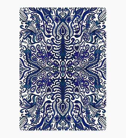 Deep Navy Blue Watercolor Damask Photographic Print