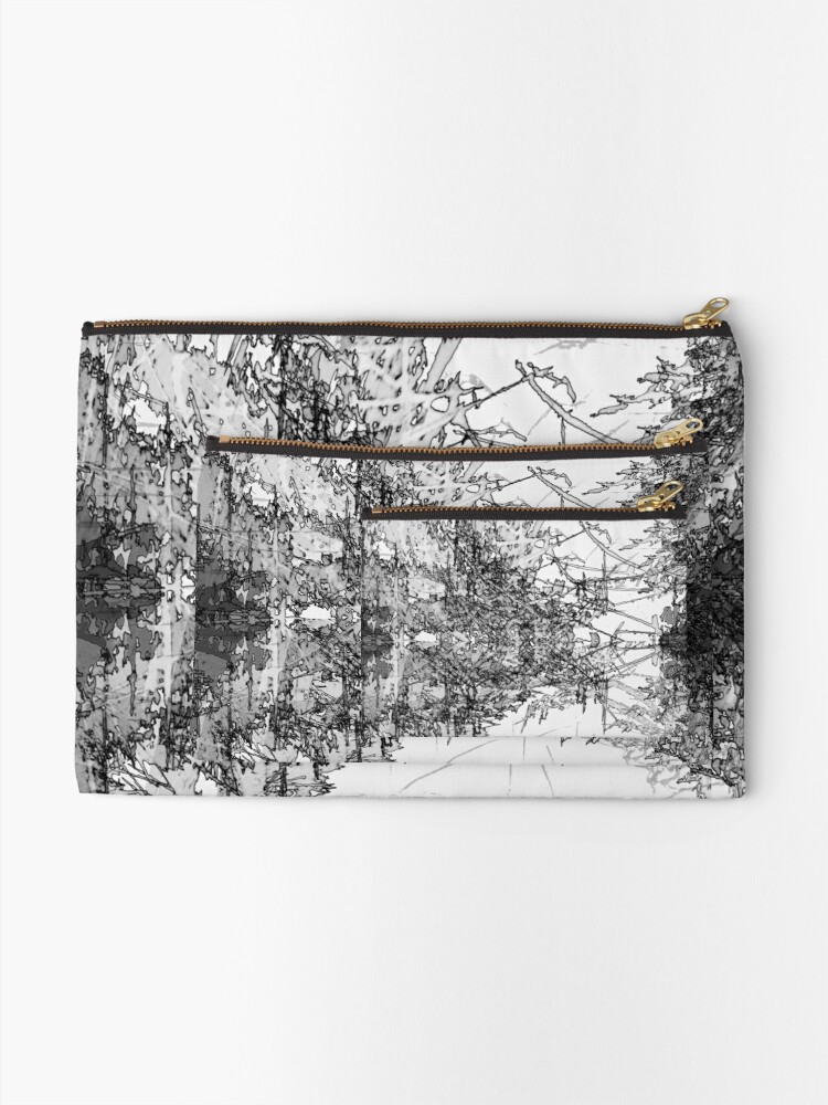 Alternate view of Edgy Black and White Zipper Pouch