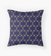 Moroccan Lattice Pattern, navy blue and gold Throw Pillow