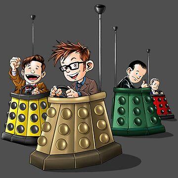 Bump The Doctor Cartoon Bumper Cars by Cudge82
