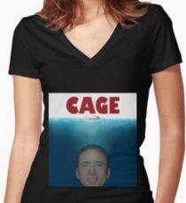 KÄFIG Tailliertes T-Shirt mit V-Ausschnitt