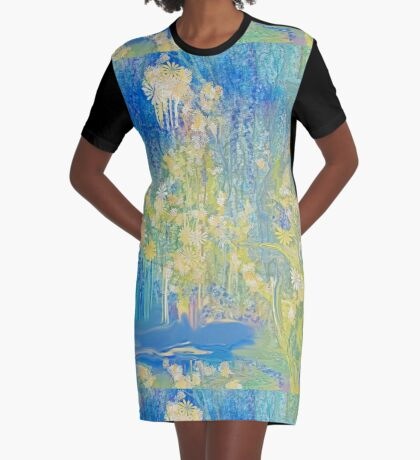 Mellow Yellow and Blue For You!!! by Sherri's Of Palm Springs Graphic T-Shirt Dress