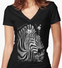 Zebra Painting Women's Fitted V-Neck T-Shirt