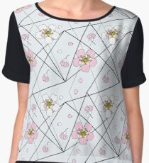 Cherry flowers in white and pink on black strait lines Chiffon Top