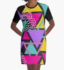 Memphis Triangles Graphic T-Shirt Dress