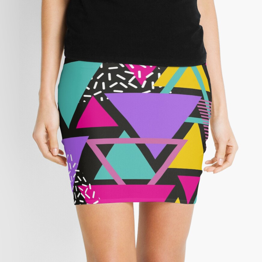 Memphis Triangles Mini Skirt