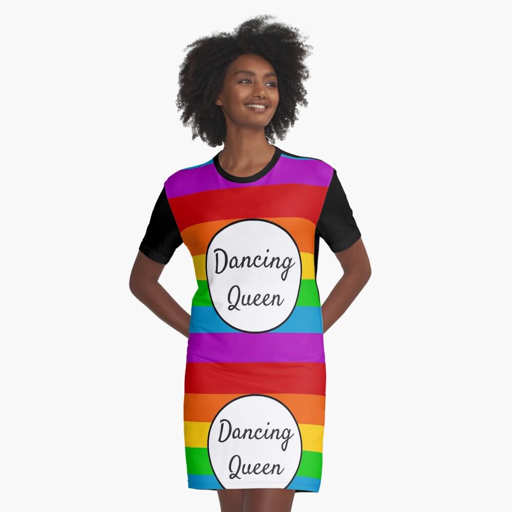 Dancing Queen ~ Rainbow Graphic T-Shirt Dress Front