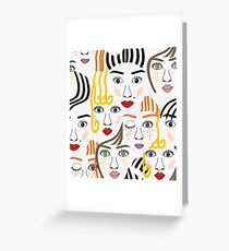 Girls faces with eyes, hairs, noses and lips Greeting Card