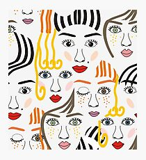 Girls faces with eyes, hairs, noses and lips Photographic Print