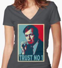 CIGARETTE SMOKING MAN TRUST NO 1 Women's Fitted V-Neck T-Shirt