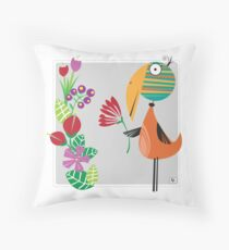 Birdie in the Flowers Throw Pillow