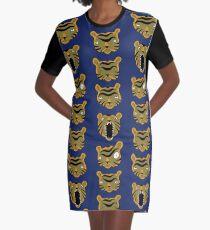 Tiger Buttons Graphic T-Shirt Dress