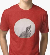 Magpie Lark Print Oriental Zen Minimalist - Sumie ink australian bird Tri-blend T-Shirt