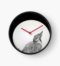 Magpie Lark Print Oriental Zen Minimalist - Sumie ink australian bird Clock