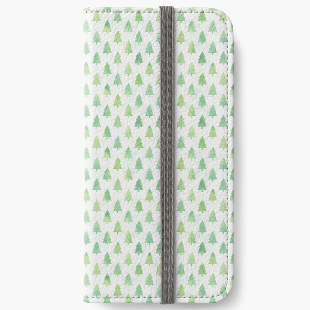 Simple Pine Tree Forest Pattern iPhone Wallet