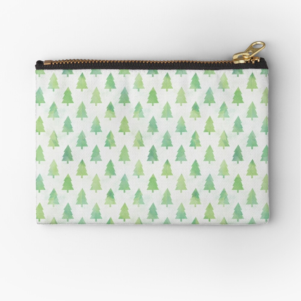 Simple Pine Tree Forest Pattern Zipper Pouch