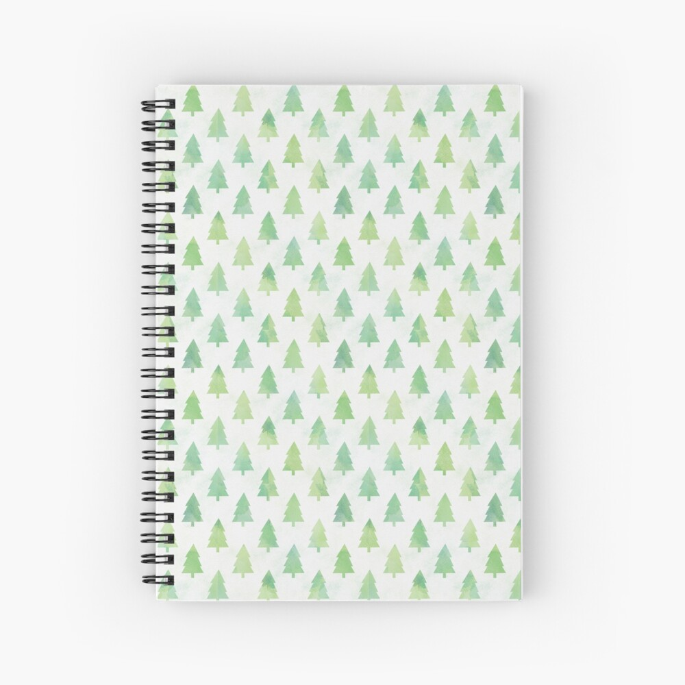 Simple Pine Tree Forest Pattern Spiral Notebook