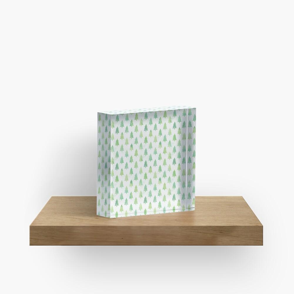 Simple Pine Tree Forest Pattern Acrylic Block