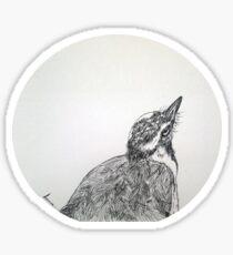 Magpie Lark Print Oriental Zen Minimalist - Sumie ink australian bird Sticker