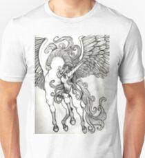Thunder in the Clouds Unicorn Pegasus Fantasy Artwork Unisex T-Shirt