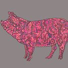 Cheerful and bright pink piggy by Lynn Excell
