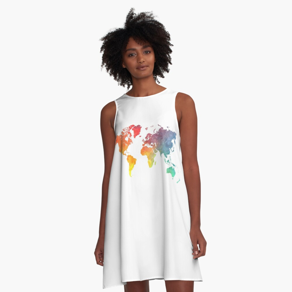 Map of the world colored A-Line Dress