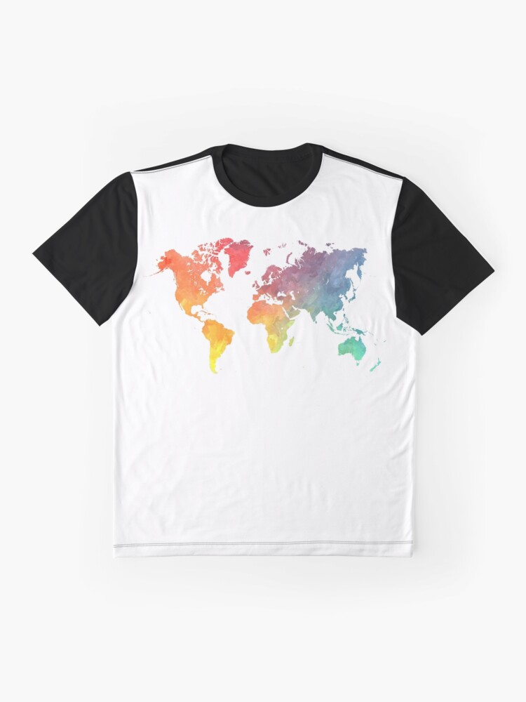 Alternate view of Map of the world colored Graphic T-Shirt