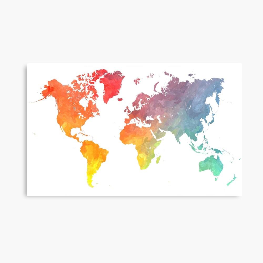 Karte der Welt gefärbt Metallbild
