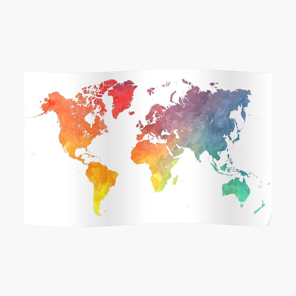 Karte der Welt gefärbt Poster