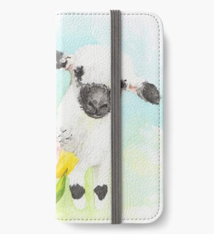Goofy sheep with Tulips iPhone Wallet
