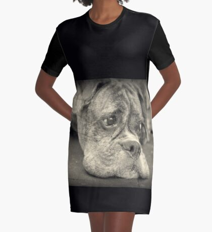 Luthiens Porträt in Monochrom - Boxer Dog Series T-Shirt Kleid