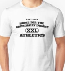 East Peck Home For The Criminally Insane Athletics (Black) Unisex T-Shirt