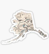 Alaska Vintage Picture Map Sticker