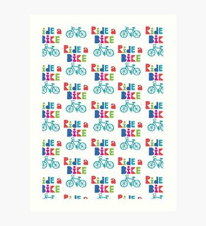 Ride a Bike Sketchy white  Art Print