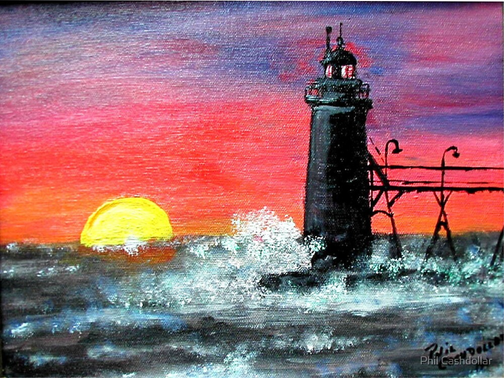 Sunset at South Haven Light by Phil Cashdollar