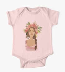 watercolor girl with flower crown One Piece - Short Sleeve