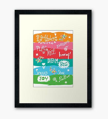 Woo Hoo Words Framed Print