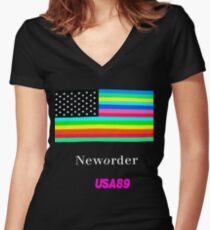 Joy Division New ORDER Technique EP 1989 Flag tour Promo Shirt Women's Fitted V-Neck T-Shirt